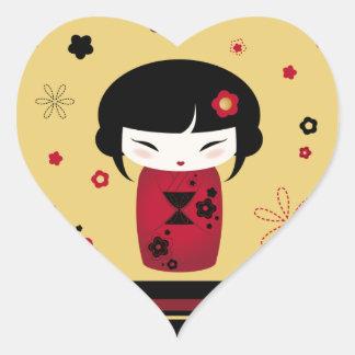Red Kokeshi Heart Sticker