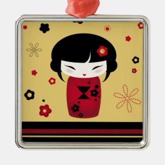 Red Kokeshi Metal Ornament