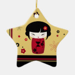 Red Kokeshi Double-Sided Star Ceramic Christmas Ornament