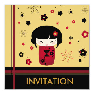 Red kokeshi square card