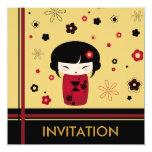 Red kokeshi square card personalized invites