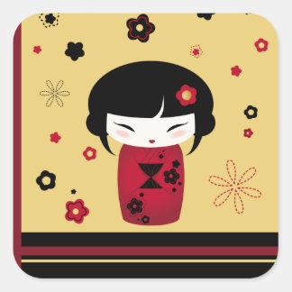 Red Kokeshi Square Sticker