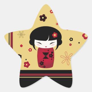 Red Kokeshi Star Sticker