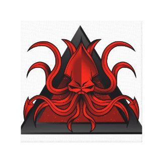 red kraken illustration canvas print