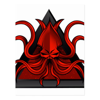 red kraken illustration postcard
