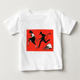 Red Krampus Chasing Woman Apples Baby T-Shirt