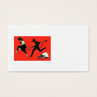 Red Krampus Chasing Woman Apples Business Card
