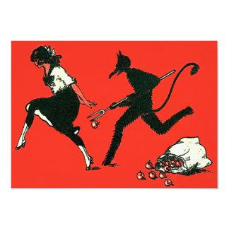 Red Krampus Chasing Woman Apples Card