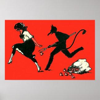 Red Krampus Chasing Woman Apples Poster