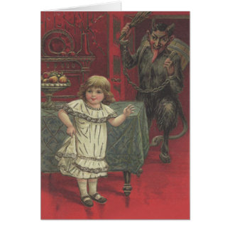 Red Krampus Girl Dining Room Switch Greeting Card