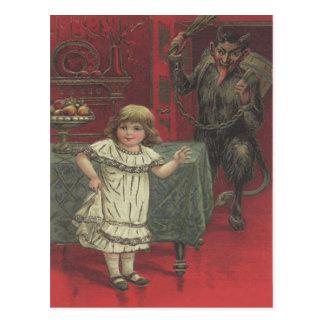 Red Krampus Girl Dining Room Switch Postcard