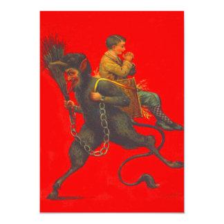 Red Krampus Kidnapping Praying Boy Card