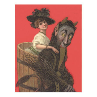 Red Krampus Kidnapping Woman Switch Postcard