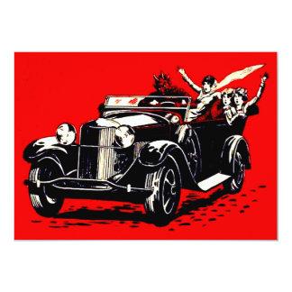 Red Krampus Kidnapping Women Car Card