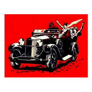 Red Krampus Kidnapping Women Car Postcard