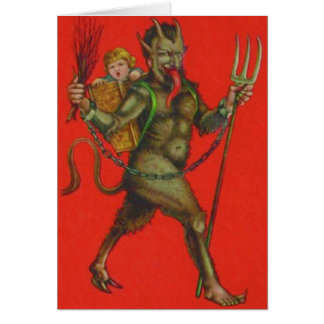 Red Krampus Pitchfork Switch Kidnapping Child Card