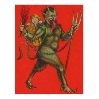 Red Krampus Pitchfork Switch Kidnapping Child Postcard