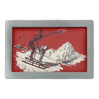 Red Krampus Sleigh Mountain Switch Kidnapped Belt Buckle