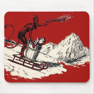 Red Krampus Sleigh Mountain Switch Kidnapped Mouse Pad