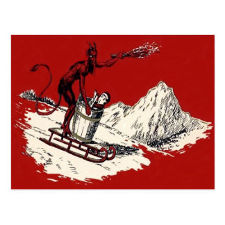 Red Krampus Sleigh Mountain Switch Kidnapped Postcard