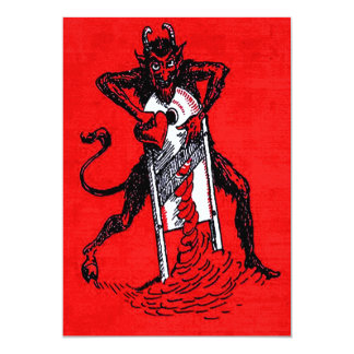 Red Krampus Slicing Heart Card