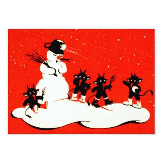 Red Krampus Snowball Fight Snowman Card