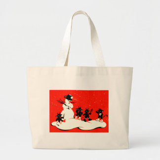 Red Krampus Snowball Fight Snowman Switch Tote Bags