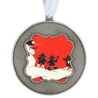 Red Krampus Snowball Fight Snowman Switch Pewter Ornament