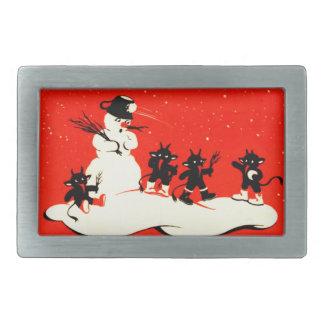 Red Krampus Snowball Fight Snowman Switch Rectangular Belt Buckle