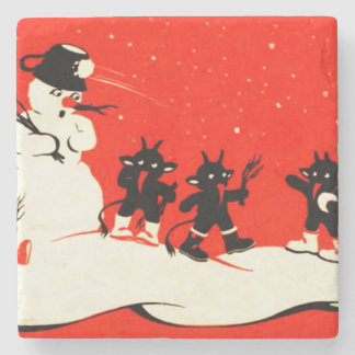 Red Krampus Snowball Fight Snowman Switch Stone Coaster