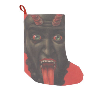 Red Krampus Tongue Small Christmas Stocking