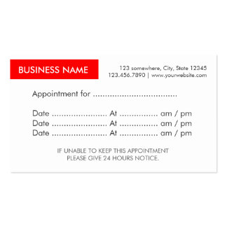 Red Label Appointment Reminder Business Cards