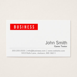 Red Label Game Testing Business Card