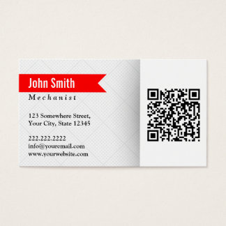 Red Label QR Code Mechanic Business Card