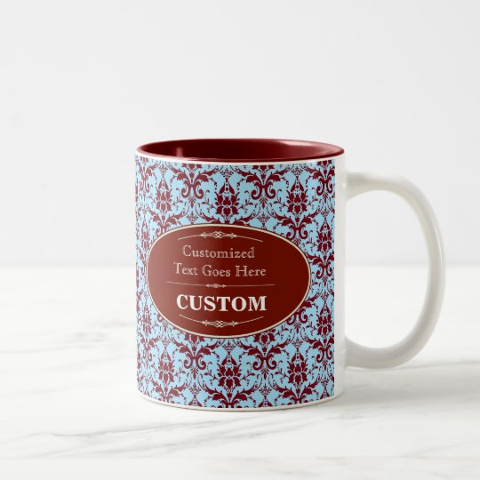 red label with red and blue damask Two-Tone coffee mug