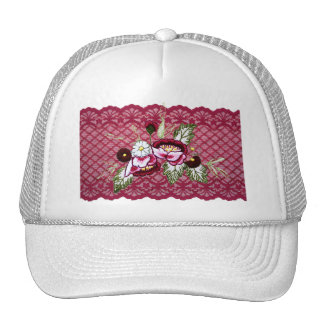 Red lace and floral design products trucker hat