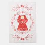 Red Lace Angel Christmas Hand Towel
