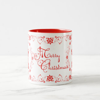 Red Lace Angels Merry Christmas Two-Tone Coffee Mug