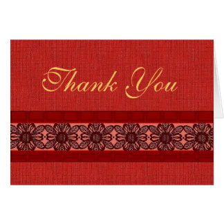Red lace brocade thank you card