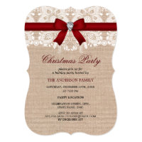 Red Lace & Burlap Christmas Party Invitation