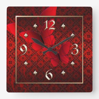 Red Lace Butterflies Clock