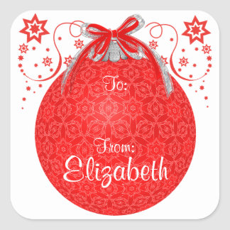 Red Lace Christmas Ball Custom Gift Label