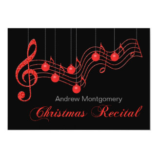 Red Lace Christmas Piano Recital 5x7 Paper Invitation Card