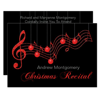 Red Lace Christmas Piano Recital Card