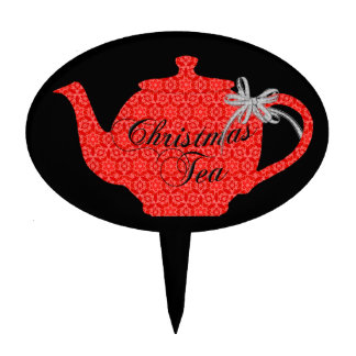 Red Lace Christmas Tea Cake Topper