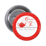 Red Lace Christmas Tea Name Pinback Buttons