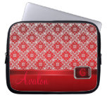 Red Lace Faux Jeweled Monogram Laptop Sleeve