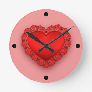 Red Lace Heart Customizable Round Clock