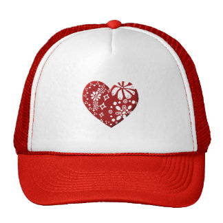 Red Lace Heart Mesh Hat