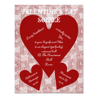 Red Lace & Hearts Romantic Valentines Day 4.25x5.5 Paper Invitation Card